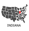 state indiana on map usa vector image vector image