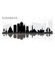 surabaya indonesia city skyline black and white vector image vector image