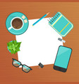 top view modern workplace wooden desk vector image