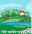 tractor on field rural landscape vector image