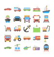 transport flat icons collection vector image vector image