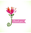 Watercolor beautiful decorative flower with thank vector image