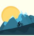 mtb female rider on mountains sunset background vector image