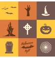 Set of halloween icons isolate on multicolor vector image