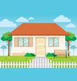family house and garden home exterior vector image