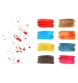 Set of watercolor brush strokes and splashes vector image