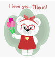 a nice polar bear holds three tulips vector image vector image