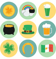 A set of flat icons on St Patricks Day vector image vector image