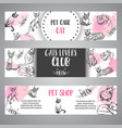 banners with cat breeds cats lovers text vector image