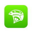 bike helmet icon green vector image