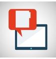 blue cartoon tablet file bubble speech vector image