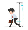 businessman with standing intravenous dropper vector image vector image