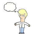 cartoon bored man with thought bubble vector image
