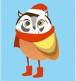 Christmas owl wearing red santa hat and scarf vector image vector image
