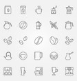 coffee icons set - symbols in thin line vector image vector image