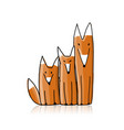 cute foxes sketch for your design vector image