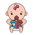 cute little bagirl with block toy vector image vector image