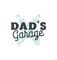 dad garage logo badge with plug sparks autorepair vector image vector image