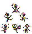 doodle cartoon kids with colored dots pattern vector image vector image