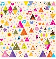 fun triangles funky cartoon retro pattern vector image vector image