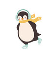 funny penguin wearing earmuffs and scarf enjoying vector image