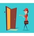 Girl worker in cap delivering pizza to door vector image vector image