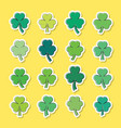 green clover leaves stickers set isolated vector image vector image