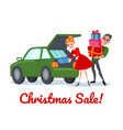 happy couple on christmas sale family shopping vector image vector image