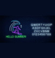 hello summer glowing neon sign with surfer in vector image vector image
