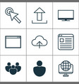 internet icons set includes icons such as upload vector image vector image