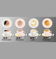 isolated white cups coffee with a spoon top vector image vector image