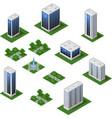 isometric city set urban landscape 3d elements to vector image