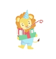 Lion Cute Animal Character Attending Birthday vector image vector image