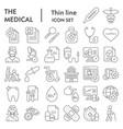 medical thin line icon set healthcare symbols vector image