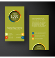 Modern green vertical business card template with vector image vector image
