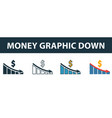 money graphic down icon set four elements in vector image vector image