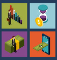 money isometric set of icons business vector image vector image