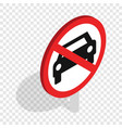 no car traffic sign isometric icon vector image vector image
