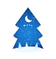 paper cut trees and moon in snowy christmas tree vector image vector image