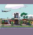 passenger plane flies over city schedule vector image vector image
