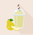 pear smoothie in plastic glass with ripe fruits vector image
