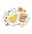 realistic hand drawn composition with tasty vector image vector image