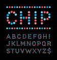 Rounded font alphabet with dots effect letters vector image vector image