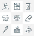 school icons line style set with male teacher vector image