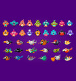 set of cartoon birds funny creatures with big vector image vector image