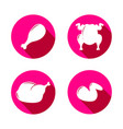 set of pink icons with silhouette of grilled vector image vector image