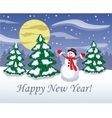 snowman in middle night forest vector image vector image