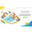 social media automation landing page website vector image vector image