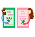 spring greeting card man and girl with tulips vector image