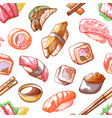 sushi food seamless pattern on white background vector image vector image